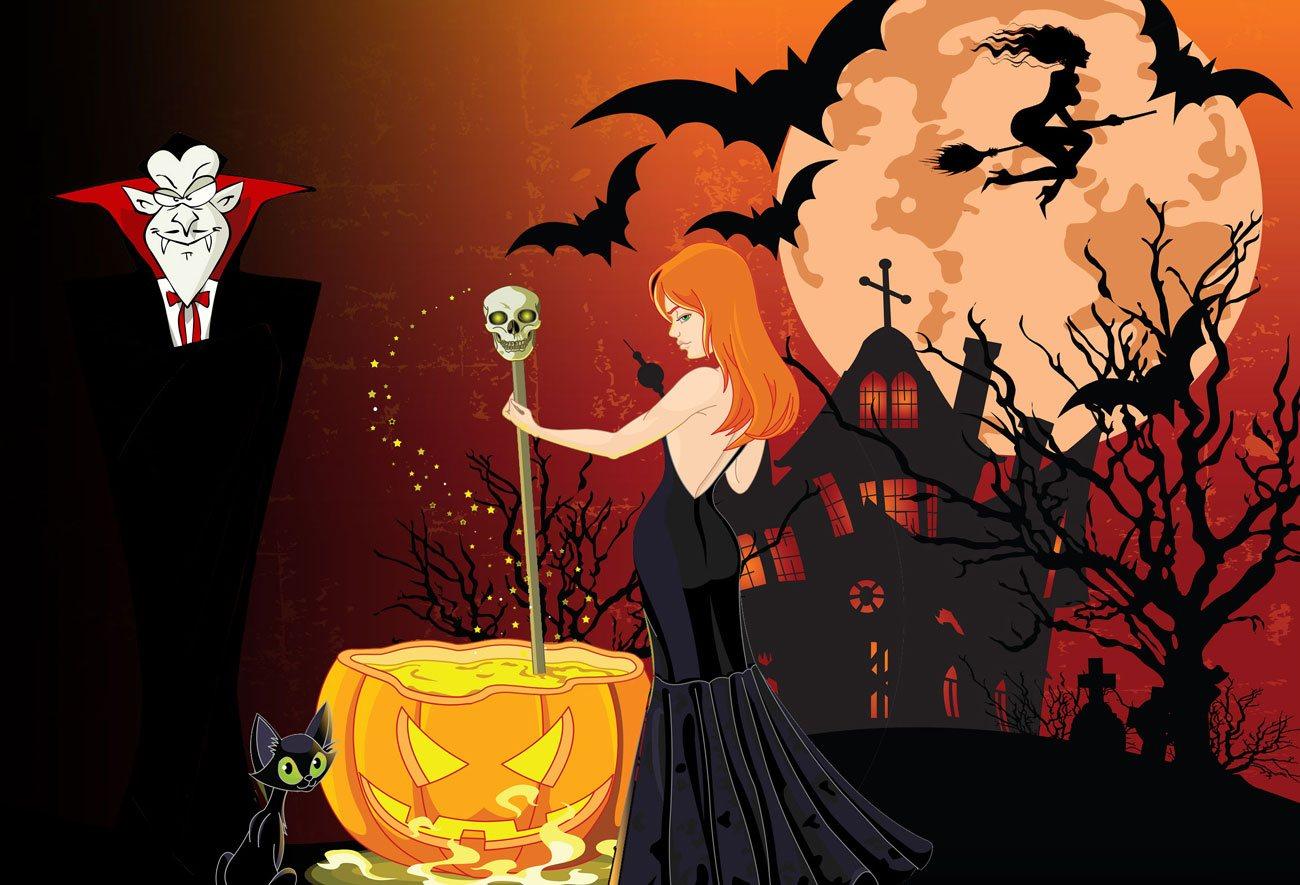 halloween-schnitzeljagd mit hexe